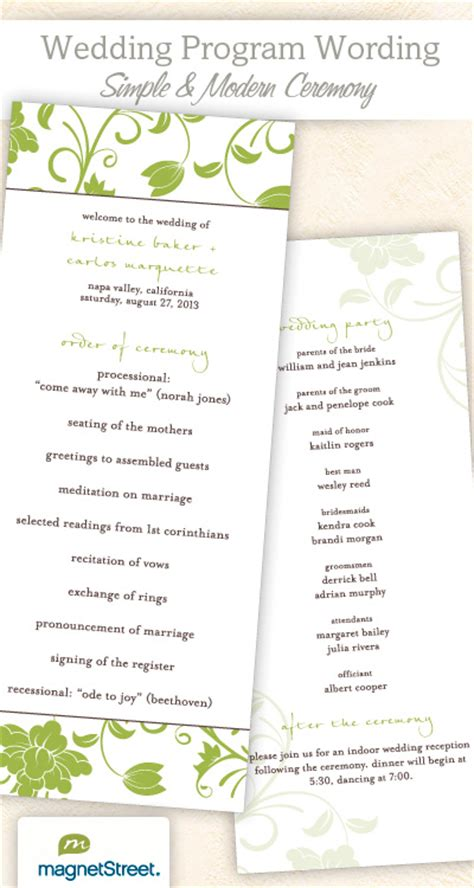 wedding reception programs templates wedding program wording for a simple ceremony