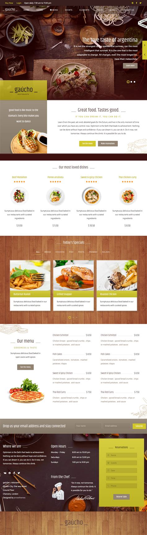 web cuisine 40 best cafe and restaurant website templates in 2017