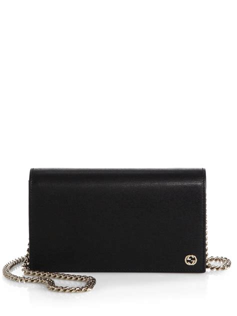 gucci leather wallet gucci leather chain wallet in black lyst