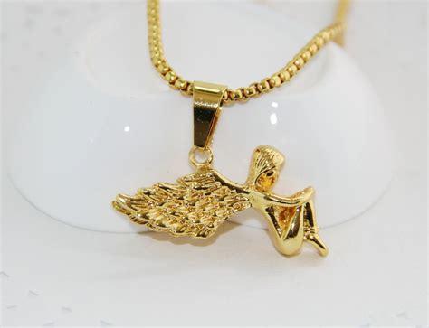 fashion jewelry hip hop 24k gold chain cherub pendant
