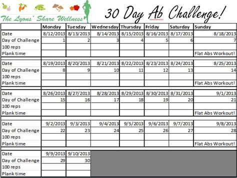 30 Day Ab And Squat Challenge Calendar