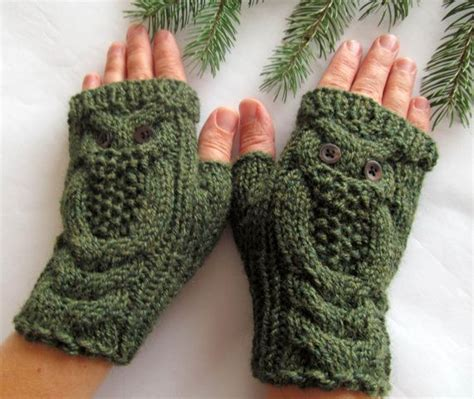 owl oatmeal long hand knit cable pattern fingerless gloves 17 best images about handschuhe stulpen on pinterest