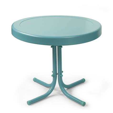 Retro Caribbean Blue Metal Outdoor Side Table Crosley Vintage Patio Table