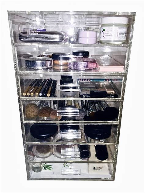 clear acrylic makeup organizer cube with 7 drawers glamourglass clear cosmetic cube organizers 7 tier w
