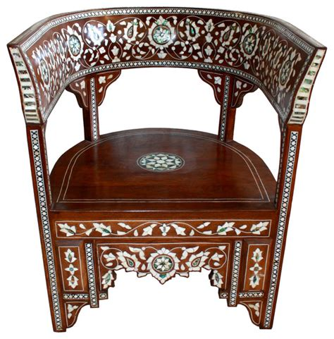 Mediterranean Chairs by Syrian Of Pearl Inlaid Handcrafted Chair
