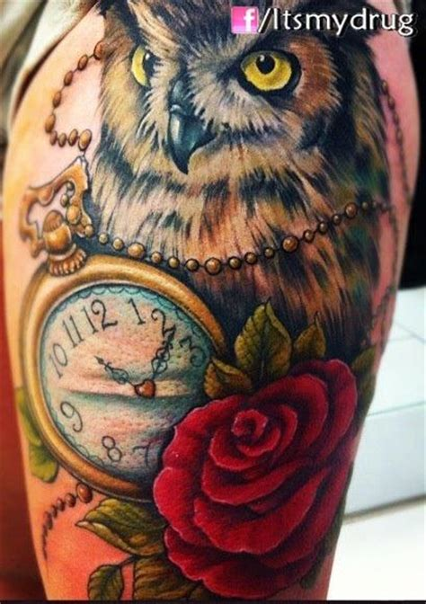 owl tattoo with clock meaning pics for gt owl clock tattoos meaning