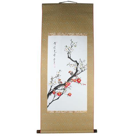 asian scroll painting painted hanging watercolor