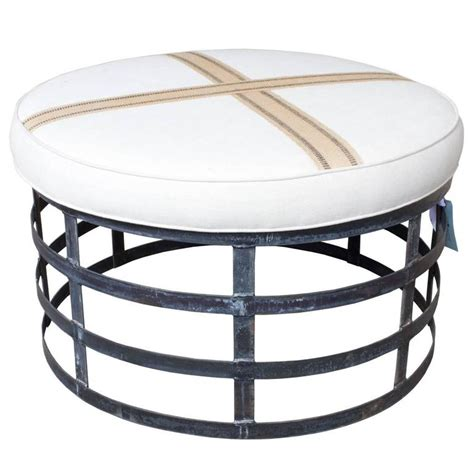 Oversized Round Industrial Style Ottoman With Cotton Linen
