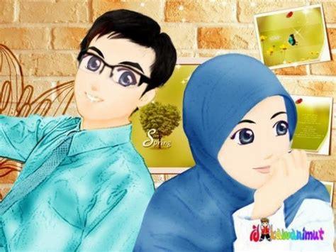 kumpulan gambar kartun romantis islami wallpaper cinta sejati muslimah animasi bergerak lucu