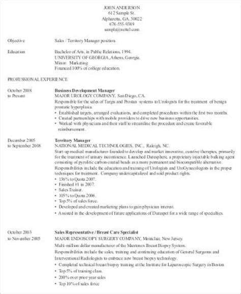 sle medical sales resume 8 exles in word pdf