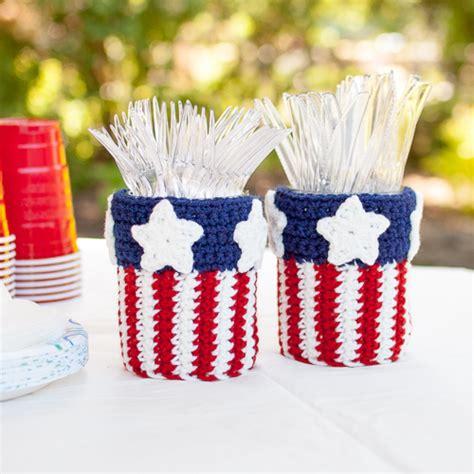 pattern utensil holder patriotic mason jar utensil holder crochet pattern