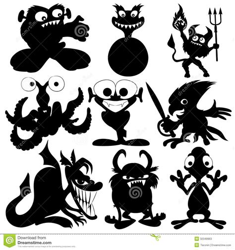 Monster Black Silhouettes. Stock Photos   Image: 32349963