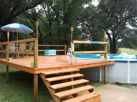 simple backyard deck ideas above ground pool deck kits our agp and deck install