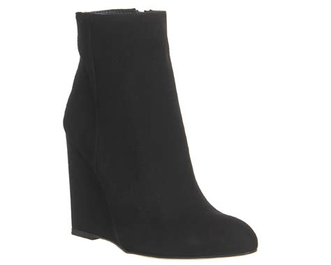 office if only wedge boots black suede ankle boots