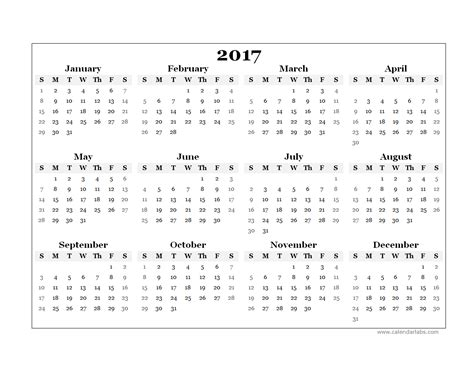 printable calendar year 2017 2017 yearly blank calendar template free printable templates