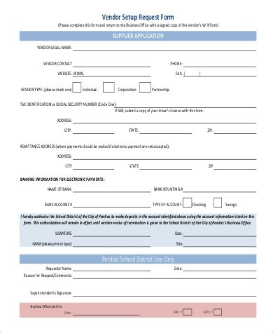 Vendor Request Form Template by Sle Vendor Request Form 9 Exles In Word Pdf