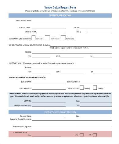 vendor request form template sle vendor request form 9 exles in word pdf