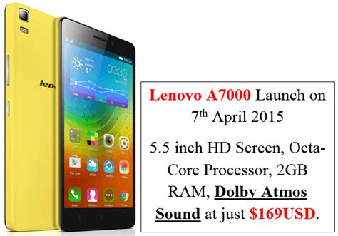 Lenovo A7000 Mobile lenovo a7000 mobile with dolby sound to launch in india on