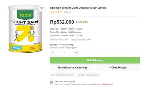 Appeton Weight Gain Untuk Dewasa appeton weight gain solusi tepat untuk menambah berat