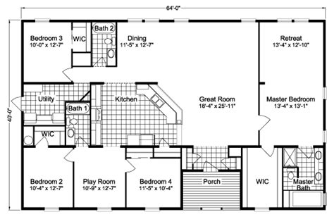 5 bedroom mobile homes sierra iii 2560 sq ft manufactured home floor plans in