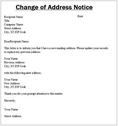 change address notice templates word excel