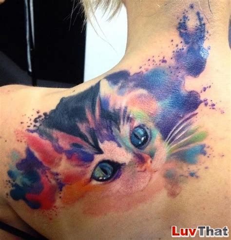 cute cat tattoos 21 great watercolor tattoos luvthat