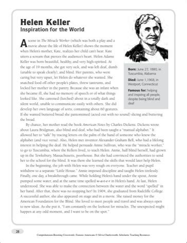 helen keller biography for third grade helen keller worksheet worksheets