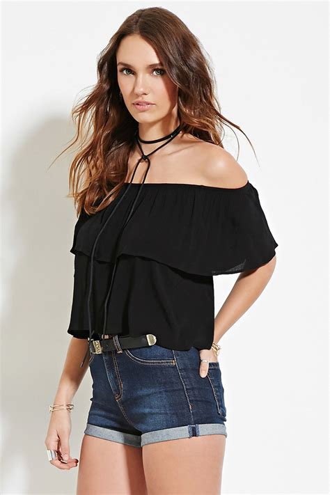 Roberta Roller Rabbit forever 21 crinkled off the shoulder top in black lyst