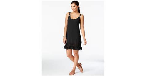 Fashion Black Hardware dotti fringe trim hardware dress cover up in black lyst
