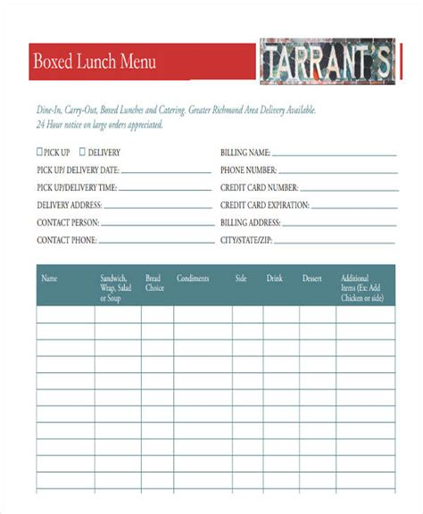 menu order forms 8 free word pdf format download
