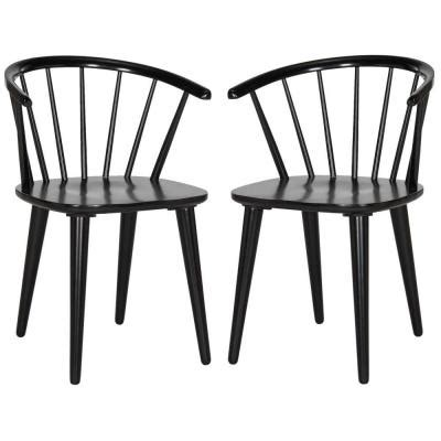 Rubber Wood Dining Chairs Safavieh Blanchard Rubberwood Dining Chair In Black Set Of 2 Amh8512a Set2 The Home Depot