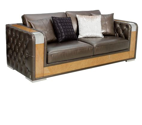 Deco Style Sofa by Dreamfurniture Brown Leather Deco Style Sofa