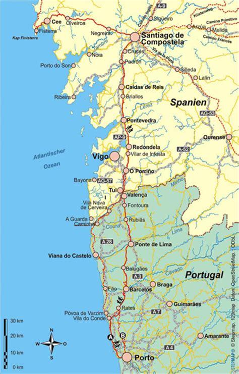 camino de santiago portugal karte caminho portugues der jakobsweg in portugal