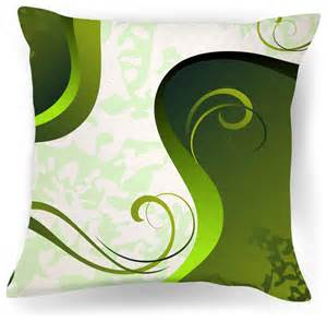 abstract green and white modern throw pillow