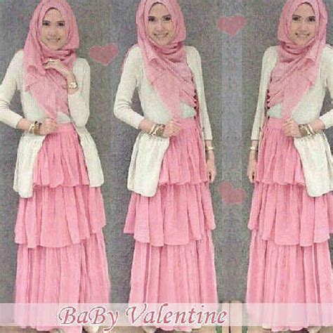 Dress Maxi Wanita Muslim Brokat Pesta Maxy Simple gamis pesta modern baby pink gamis modern pink babies and valentines
