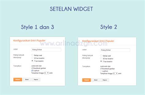 Setelan Style 3 Type F967 widget popular post dengan 3 style arlina design