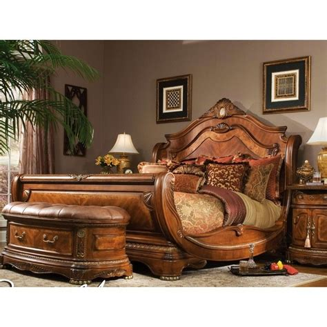 king sleigh bedroom set sleigh bed frame wood honey headboard footboard bedroom