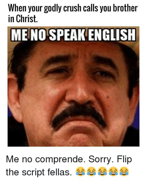 Speak English Meme - when your godly crush calls you brother in christ meno