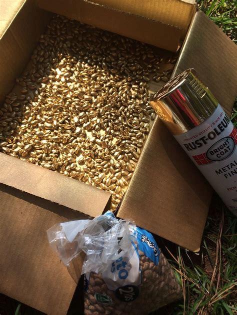 Handmade Filler Ideas - spray pinto beans with gold spray paint cheap vase filler