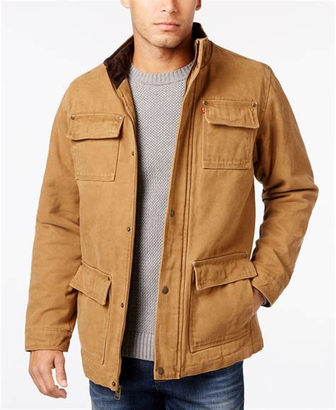 Jaket Canvas Brown Hoodie levi s s canvas field jacket in brown for lyst