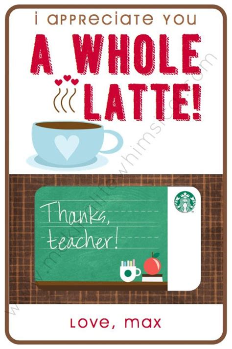 Personalized Starbucks Gift Cards - starbucks gift card personalized printable for teacher appreciation 5 00 via etsy