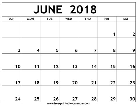 printable calendar june 2018 june 2018 printable calendar yearly printable calendar