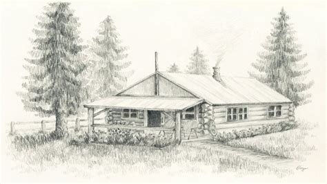 Drawings Of Log Cabins by Pencil Sketches Of Cabins Log Cabin Pencil Drawing