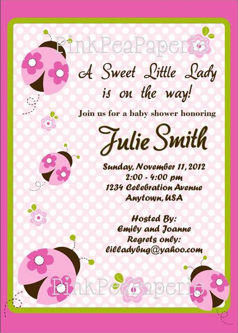 pink and green ladybug baby shower decorations pink ladybug baby shower invitation pink and green