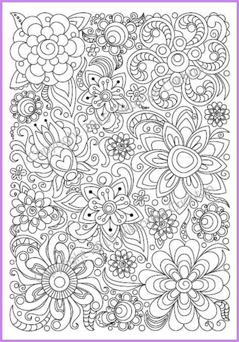 printable zentangle flowers adults and children coloring page pdf printable doodle