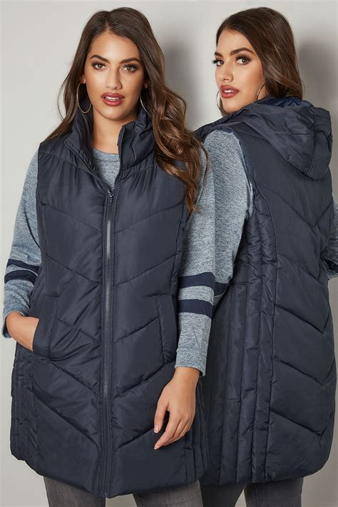 G Ci 41223 navy padded chevron gilet with foldaway plus size 16