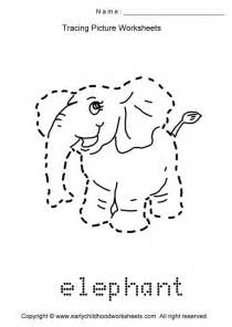 trace animals images print worksheet tracing picture worksheets