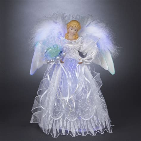 12 quot led lighted silver white fiber optic victorian angel