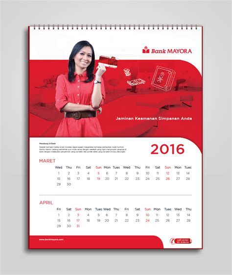 design calendar for 2016 bank mayora 2016 calendar agenda design prototype on