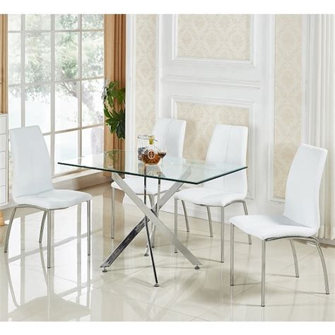glass dining table with white chairs daytona small glass dining table with 4 opal white chairs